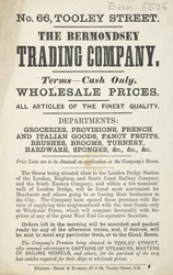 Advert for the Bermondsey Trading Company, grocery store